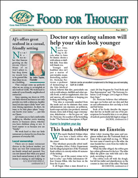 A PDF newsletter can be designed to look just like a printed newsletter. This is the cover of a PDF version of a customer newsletter that CompanyNewsletters.com created for a seafood restaurant.