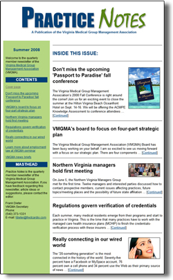 This is a website e-newsletter sample cover page created by CompanyNewsletters.com.